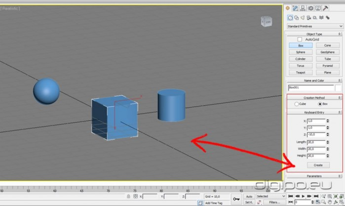 Create Box Cylinder Sphere 3ds Max